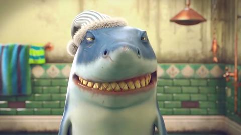 饥饿的鲨鱼进化大白鲨呆萌刷牙宣传视频