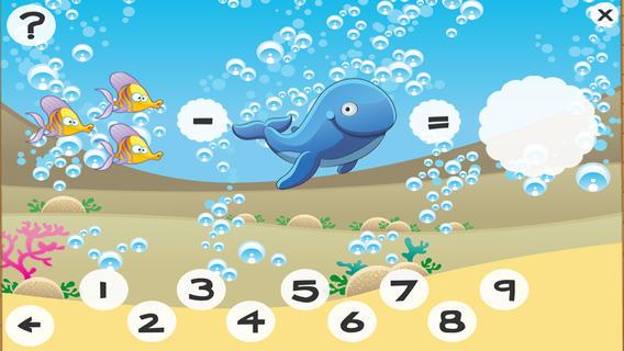 3-6岁儿童的海洋动物的数学游戏